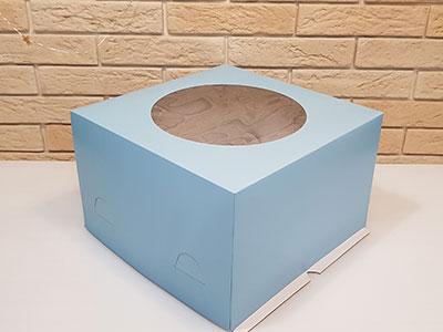 Тортница 300X300X190 мм, с круглым окном и печатью голубой цвет