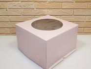 Тортница 300X300X190 мм, с круглым окном и печатью розовый цвет