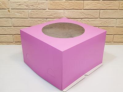 Тортница 300X300X190 мм, с круглым окном и печатью сиреневый цвет