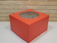 Тортница 300X300X190 мм, с круглым окном и печатью красный цвет