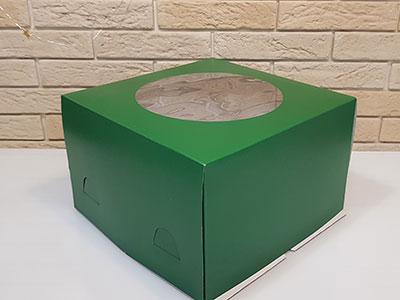 Тортница 300X300X190 ММ, с круглым окном и печатью темно-зеленый цвет