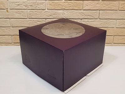 Тортница 300X300X190 ММ, с круглым окном и печатью фиолетовый цвет