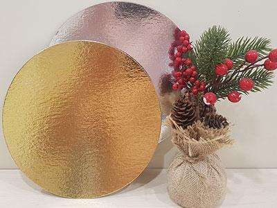 Подложка ламинированная 240мм, круглая толщина 0,8 мм зол/сер